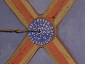 Publicité d'Elie Bot dans l'église de Cubières-sur-Cinoble