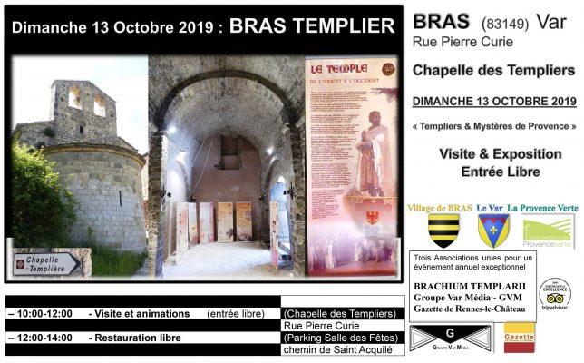Visite de la chapelle des Templiers à Bras (Var) lors des conférences sur les Templiers