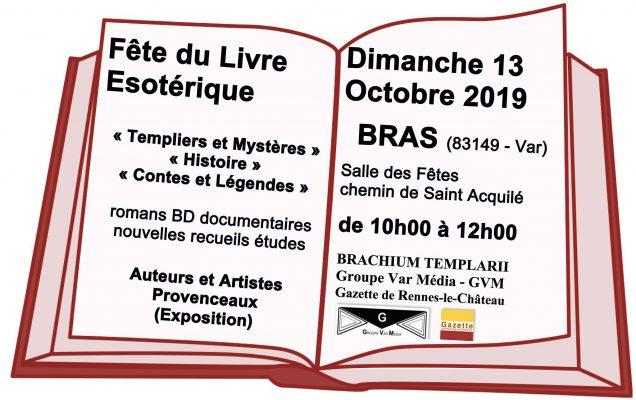 Fête du livre ésotérique à Bras 13 octobre et conférences sur les Templiers