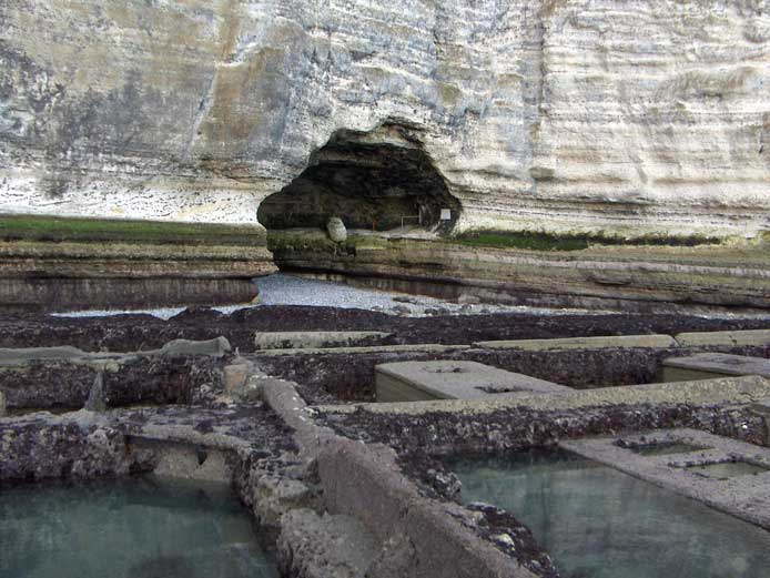 En arrière-plan du parc à huîtres, le Trou de l'Homme qui mène à l'Aiguille - © Elen Tournadre