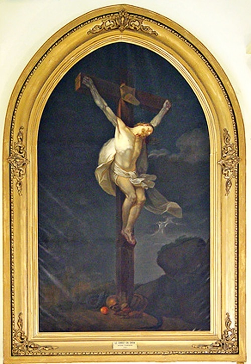 Crucifixion lazariste d'Antoine Plamondon, copie de Charles Monnet, 1732 - Document J. P. Garcia