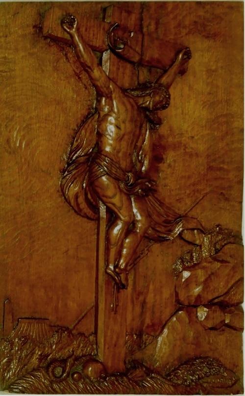 Crucifix lazariste sculpté sur la face de l'autel - Patrick Merle ©