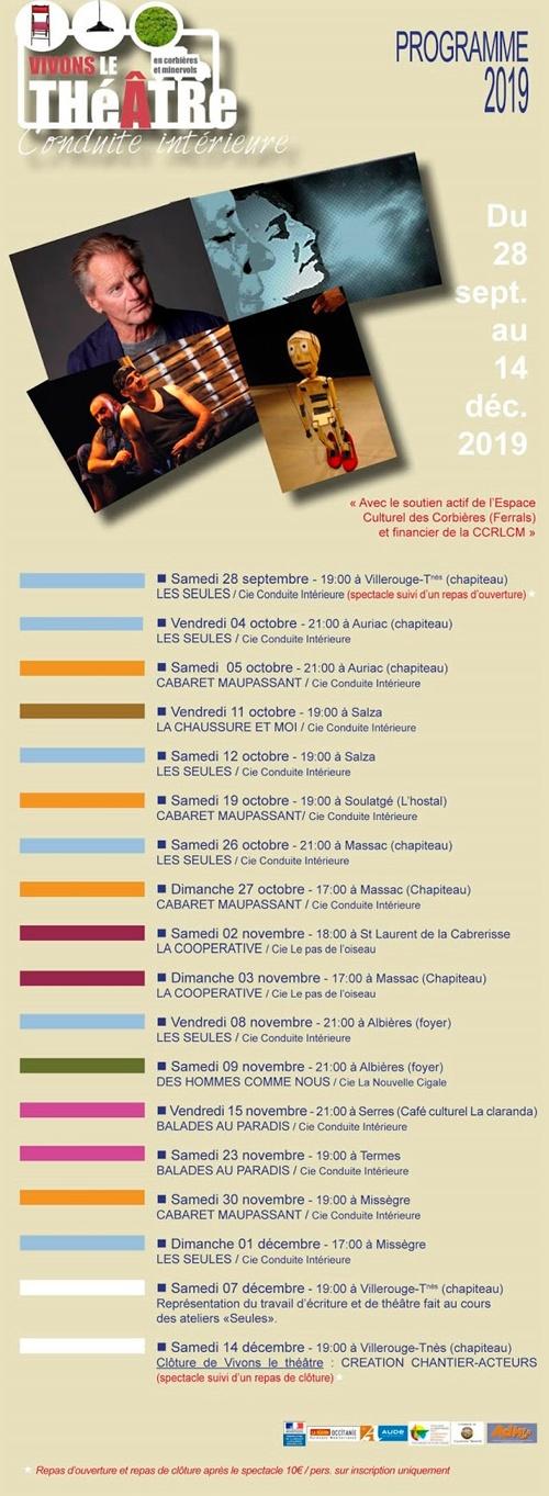 Programme 2019 de la compagnie théâtrale Conduite Intérieure dans les Corbières et le Minervois