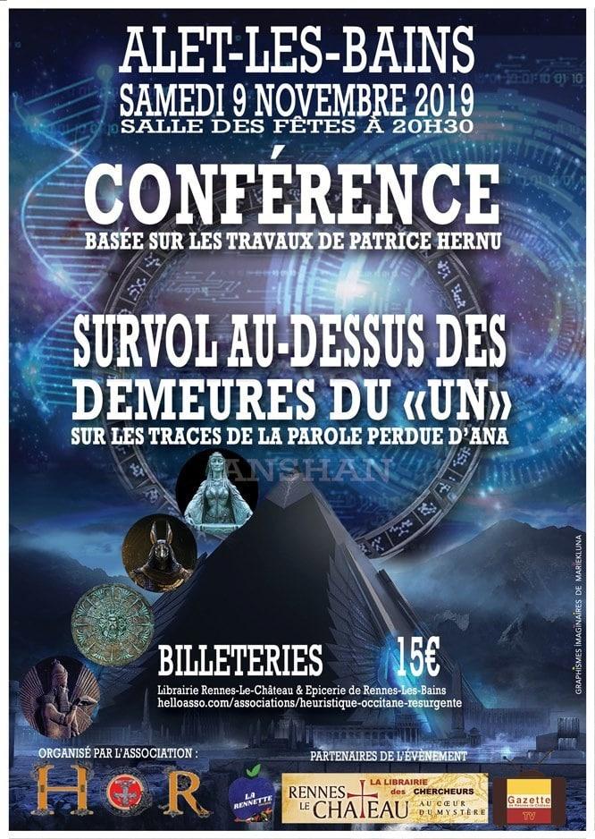 Conférence basée sur les travaux de Patrice Hernu à Alet-les-Bains (Aude), Des Deneures du UN, de Sumer à l'Aude
