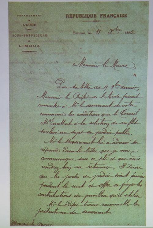Plainte de la mairie suite au refus de l'abbé Saunière de donner accès à la citerne du jardin du calvaire pendant un incendie.