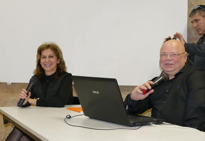 Les présentateurs du colloque des commémorations du centième anniversaire du décès de Saunière : Kris Darquis et Johan Netchacovitch