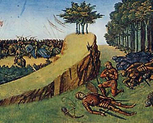 Charlemagne retrouvant le corps de Roland à Roncevaux - Miniature de Jean Fouquet