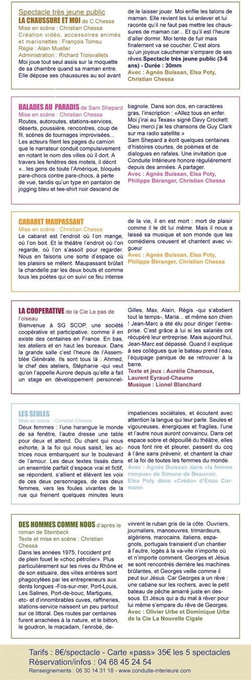 Présentation des spectacles 2019 proposés par la compagnie Conduite Intérieure en Corbières et Minervois