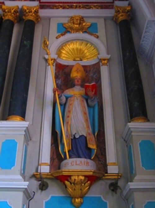 Statue de Saint-Clair dans l'église de Crac'h, comme le nom pris par Pierre Plantard de Saint Clair