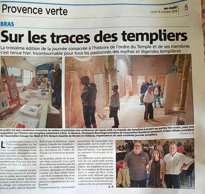 Article de Var-Matin sur les traces des Templiers et les conférences sur les Templiers