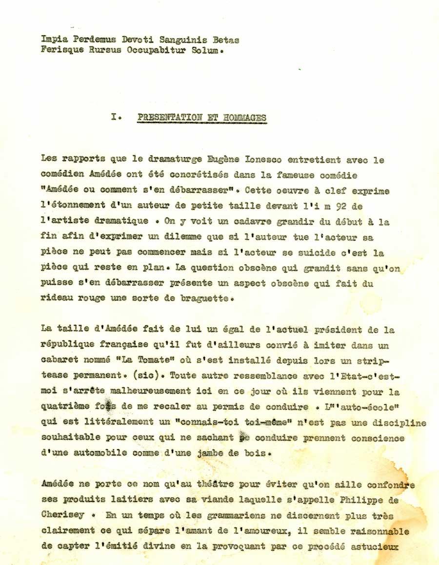 Philippe de Chérisey explique le titre Amédée