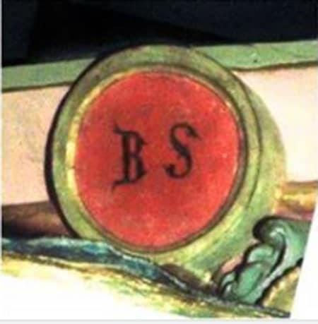 Cartouche BS du bénitier de l'église de Rennes-le-Château