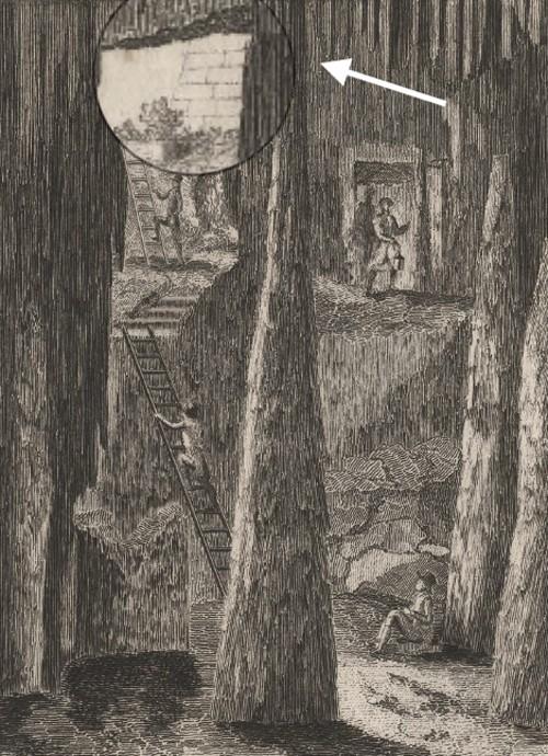 Intérieur de la grotte de Falicon avec une référence maçonnique