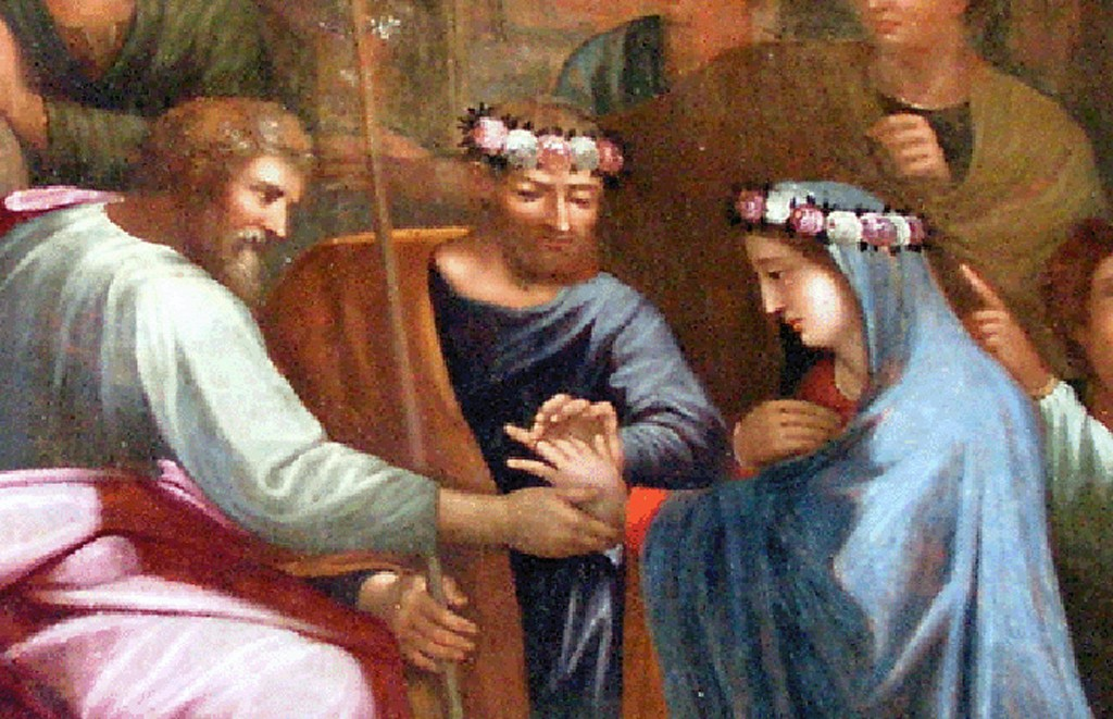 Détail central de la copie inversée du mariage de la Vierge à Notre-Dame du Cros - Christian Attard ©