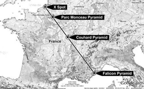 La pyramide est alignée sur d'autres pyramides en France : celle du Parc Monceau, de Couhard.