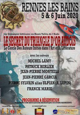 Le Secret du Triangle d'Or Audois, le cercle des auteurs initiés, les 5 et 6 juin 2020 à Rennes-les-Bains