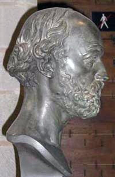 Tête de Viollet-le-Duc au château comtal de Carcassonne