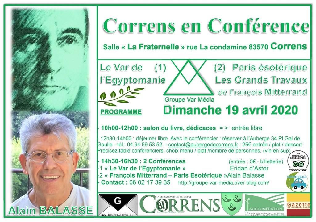 Correns en conférences dans le Var le 19 avril 2020