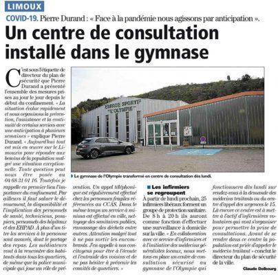 Covid-19 : Centre de consultation à l'Espace sportif l'Olympie à Limoux