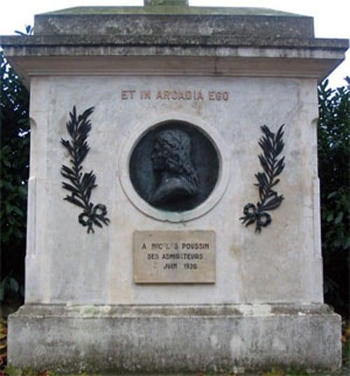 Monument consacré à Nicolas Poussin dans sa commune de naissance de Les Andelys proche de l'Aiguille creuse
