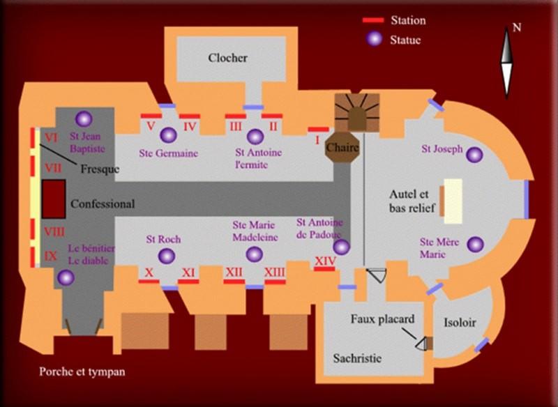 Plan de l'église de Rennes-le-Château avec le bs du bénitier