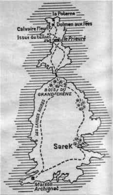 Plan de l'ile de Sarek dans l'ile aux trente cercueils