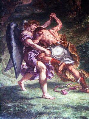 La Lutte de Jacob avec l'Ange (détail) d'Eugène Delacroix à Saint Sulpice