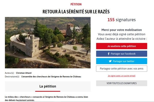 Pétition pour le retour de la paix, du respect, de la sérénité dans le Razès et à Rennes-le-Château.