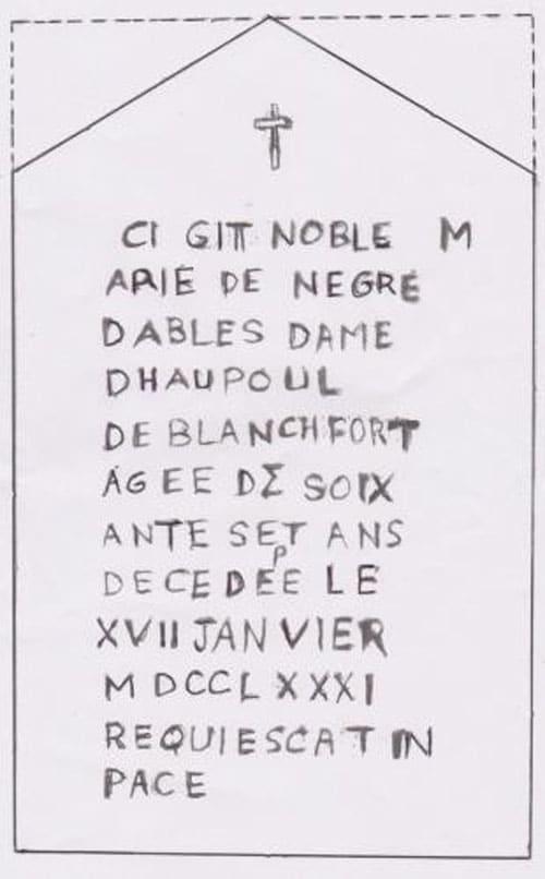 Stèle de Marie de Nègre décryptée par Pierre Silvain