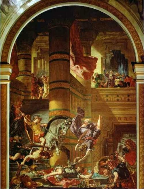 Héliodore chassé du temple d'Eugène Delacroix à Saint Sulpice