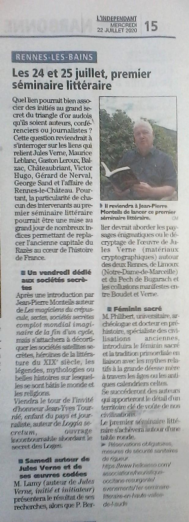 Article de Cathy Mercier de l'Indépendant sur le 1er séminaire littéraire Le Cercle des auteurs initiés & le Secret du triangle audois à Rennes-les-Bains les 24 & 25 juillet 2020 !