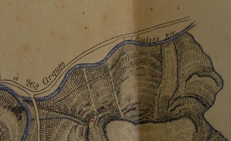 Partie de la carte originale de La Vraie Langue Celtique avec le point devant Rialsés signature du Prieuré de Sion