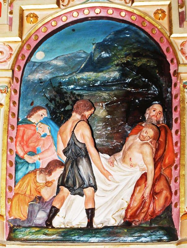 """Station XIV du chemin de croix de l'église Sainte Marie-Madeleine de Rennes-le-Château avec un crocodile selon l'auteur de l'article """"Le secret de Béranger Saunière"""" !"""
