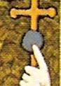 Crosse papale avec un rond couleur de la pierre dans le tableau de Pierre Plantard
