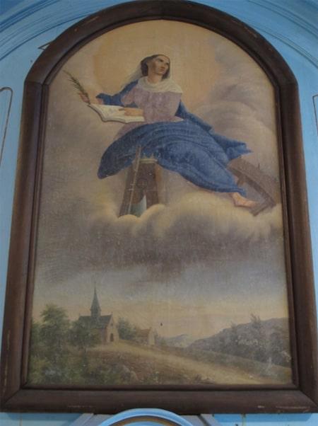 Oeuvre du peintre Parfait Pobéguin, datée de 1874. La nouvelle Isis n'est autre que Catherine d'Alexandrie, la patronne des Templiers