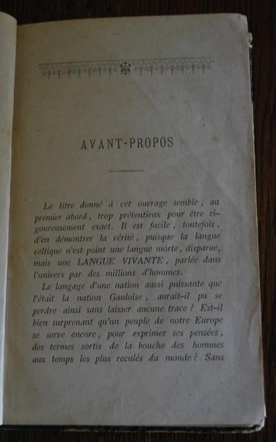 Avant-propos de la Vraie langue celtique d'Henri Boudet