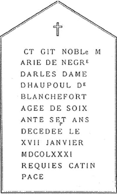 Le tombeau du Christ crypté dans la stèle de Marie de Nègre