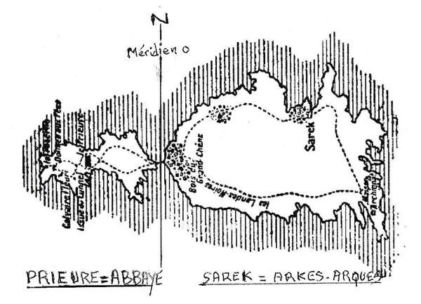 Le tombeau du Christ est codé dans le roman L'Ile aux trente cercueils de Maurice Leblanc avec le lieu Sarek mis pour Arques