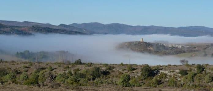le 17 janvier, la vallée du ruisseau de Couleurs dans le brouillard