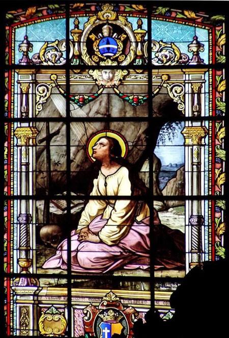 Le vitrail de Saint Eustache à Rome avec Marie-Madeleine