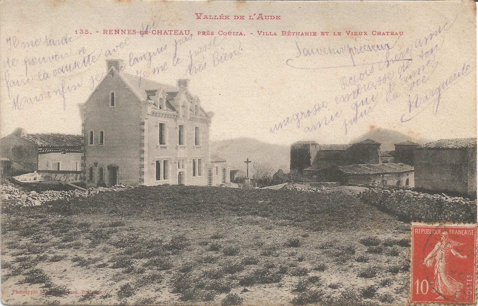 News : carte postale de la construction de la villa Béthania à Rennes-le-Château