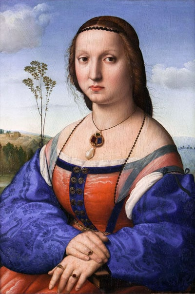 Le portrait de Maddalena Strozzi du peintre Raphaël ressemble à celui de la Joconde de Léonard de Vinci.