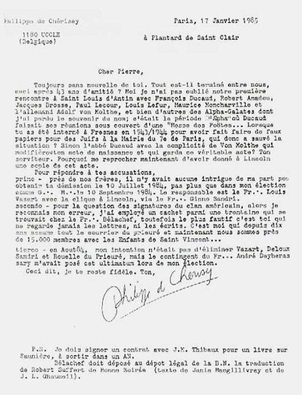 Lettre de Philippe de Chérisey à Pierre Plantard qui permet d'introduire la piste d'Otto Rahn